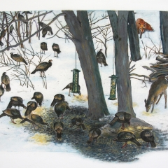 Turkeys in the Snow (after a photograph) by Sue Coe ©Pamela Blotner